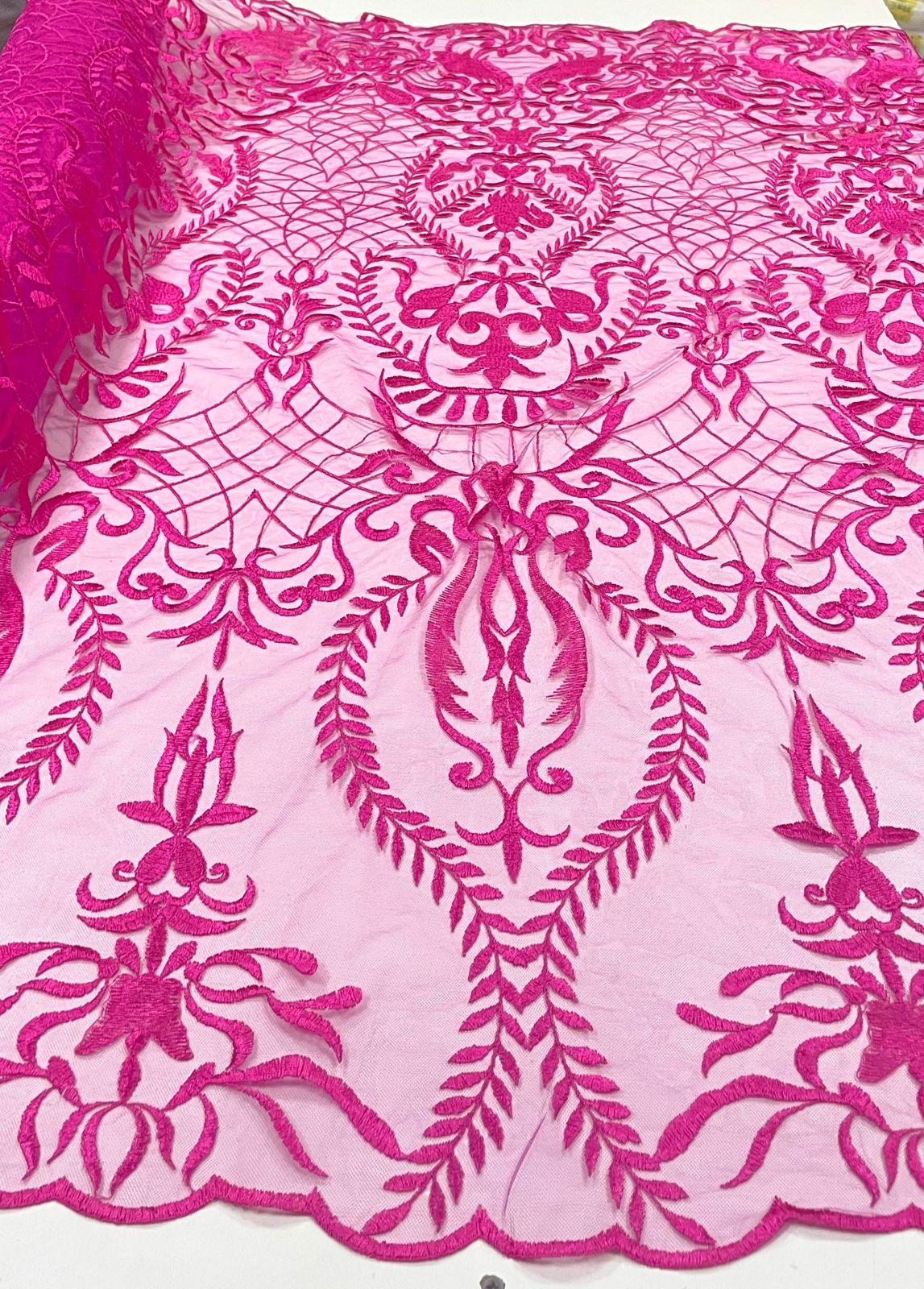 Tule Bordado Arabescos Pink
