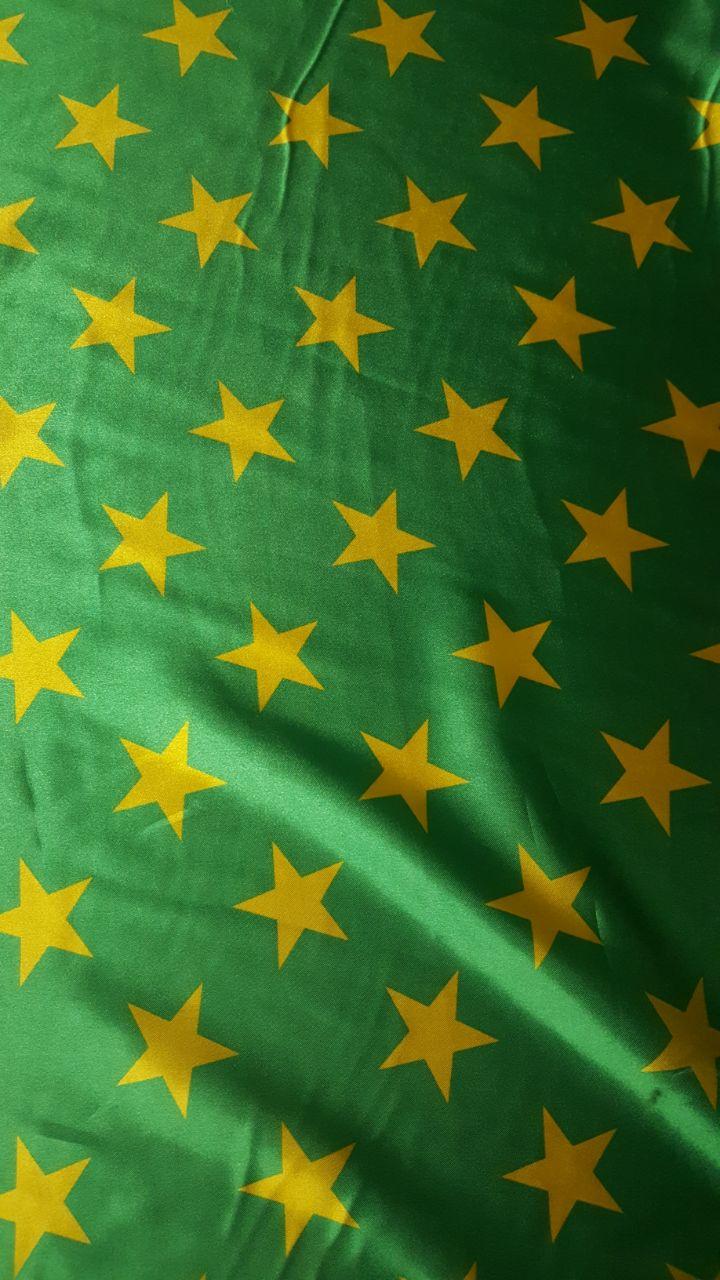 Cetim Verde Estrela Amarela