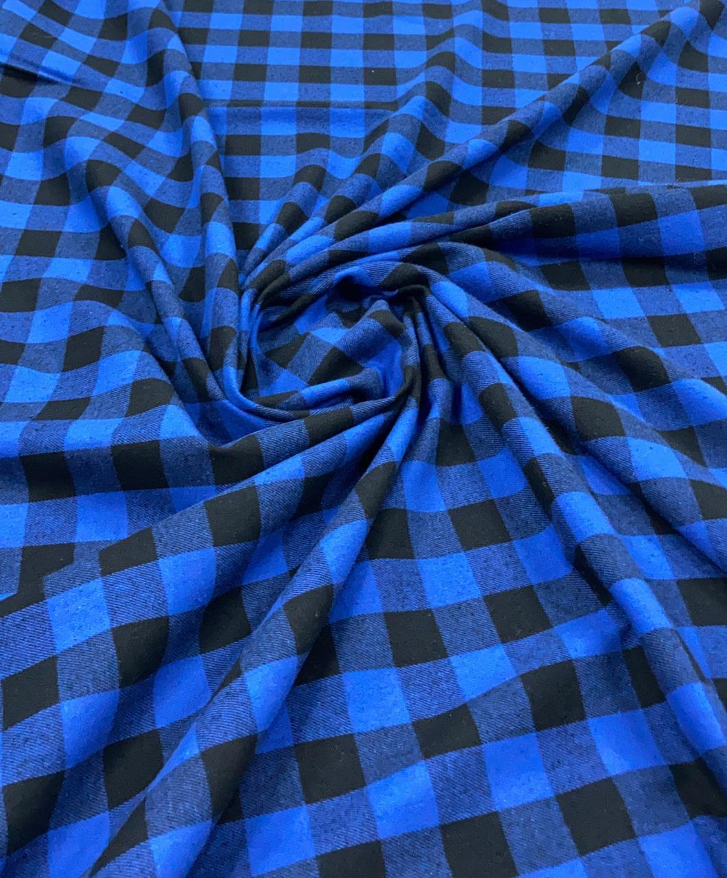 Flanela Xadrez Premium Azul e Preto 100% Algodão