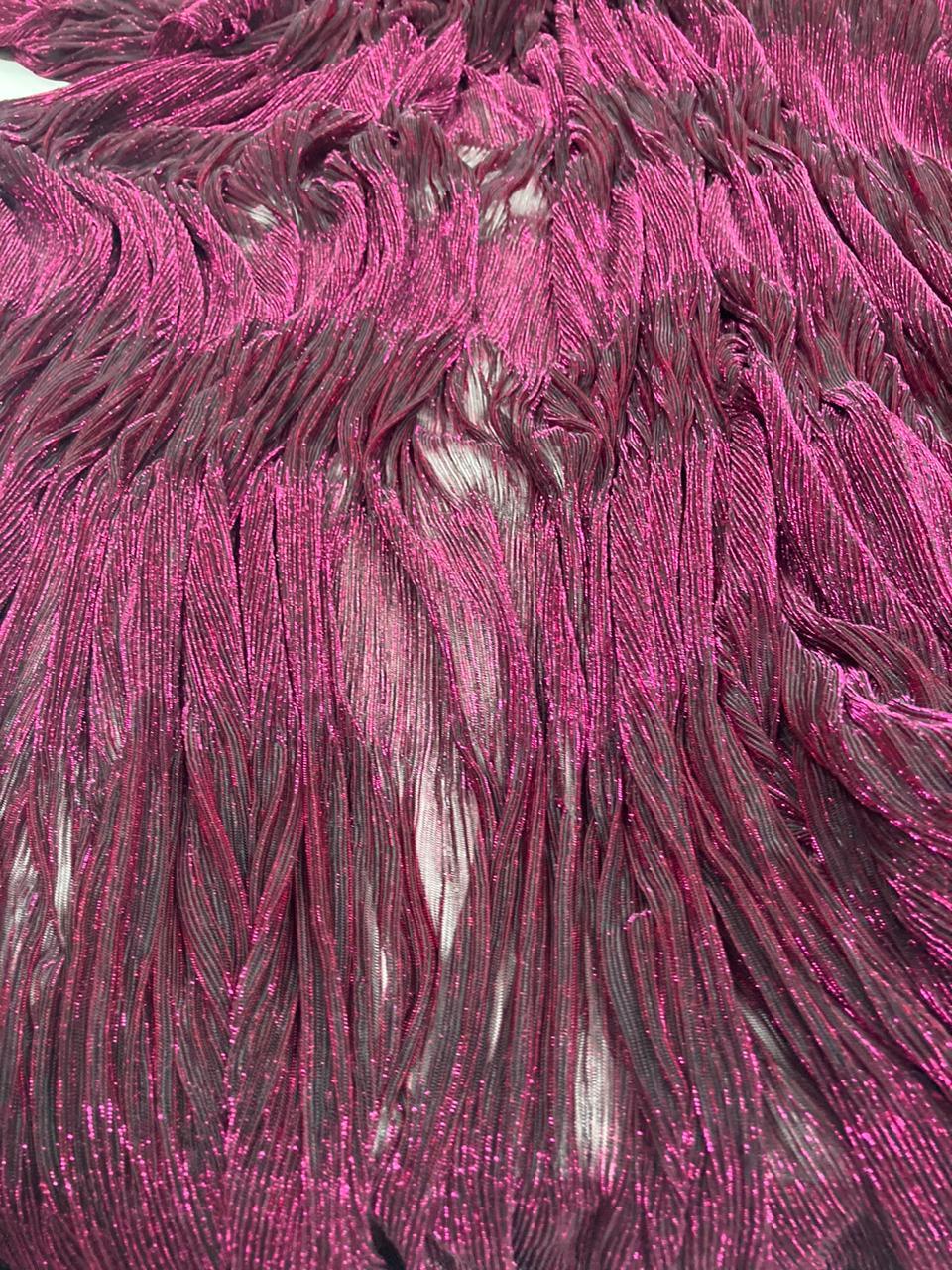 Lurex Plissê Pink com Preto