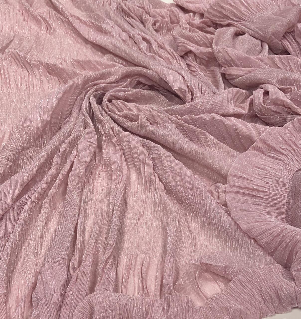 Lurex Plissê Rosê com Prata