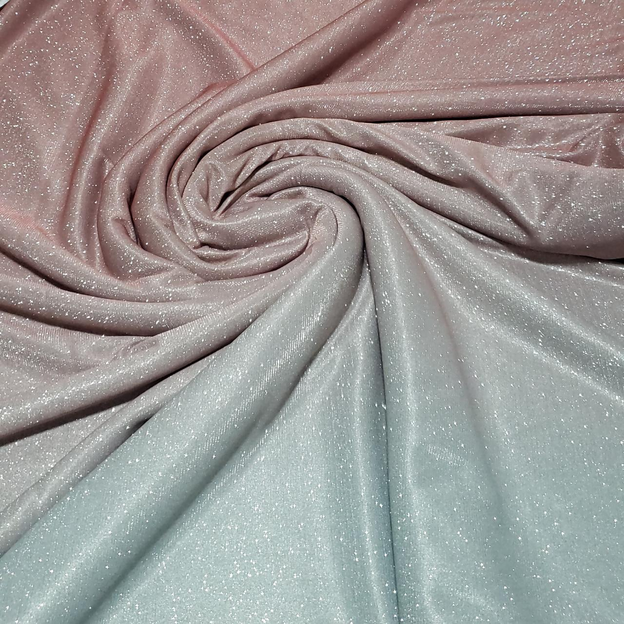Lurex com Glitter Degradê Rosê com Prata