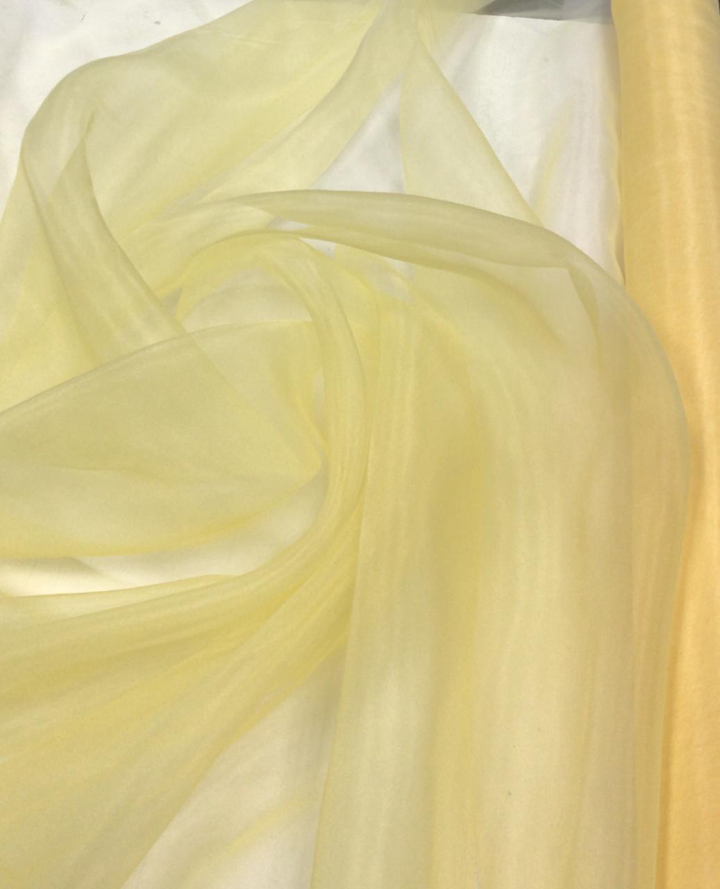Organza Cristal Lisa Amarelo Claro