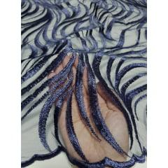 Tule Bordado Europa Ramos Azul Marinho  2