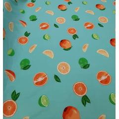 Alfaiataria Estampada Sarjada com Elastano Fundo Verde com Frutas
