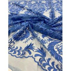 Tule Bordado Arabescos Premium Azul Celeste