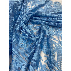 Tule Bordado Arabescos Premium Azul Serenity