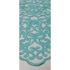 Tule Bordado Arabescos Premium Verde Tiffany