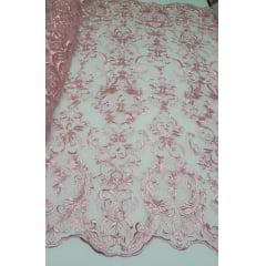 Tule Bordado Arabescos Rosa Bebê Escuro 13