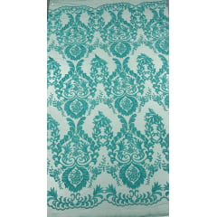 Tule Bordado Arabescos Verde Tiffany