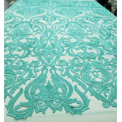 Tule Bordado Arabescos Verde Tiffany 02