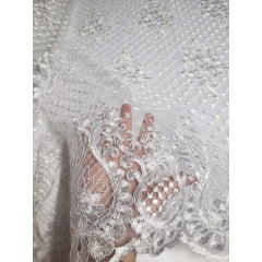 Tule Bordado Europa Flores Branco 03