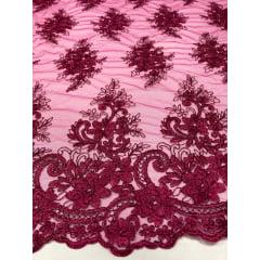 Tule Bordado Europa Flores Rosa Pink Com Fio Metálico Marsala