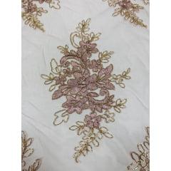 Tule Bordado Europa Flores Rosê Com Fio Metálico Dourado