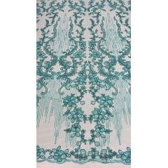 Tule Bordado Europa Flores Verde Tiffany 04
