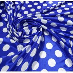 Cetim Azul Bola Branca