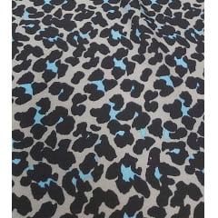 Crepe Burble Estampado Animal Print Azul