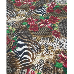 Crepe Burble Estampado Animal Print Floral