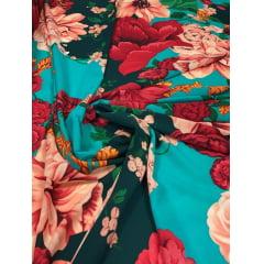 Crepe Burble Estampado Floral Fundo Tiffany com Elastano