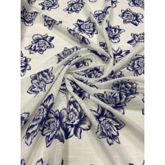 Crepe Gauze Estampado Flores Azul