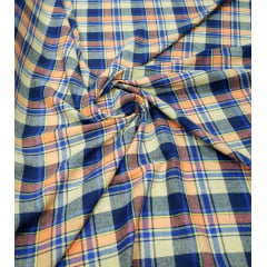 Flanela Xadrez Fundo Creme Listras Laranja e Azul Royal