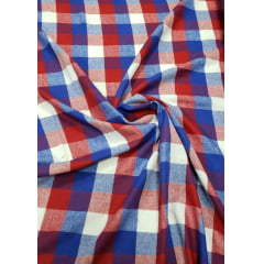Flanela Xadrez Premium Azul Royal e Vermelho 100% Algodão