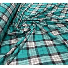 Flanela Xadrez Premium Verde Tiffany e Preto 100% Algodão