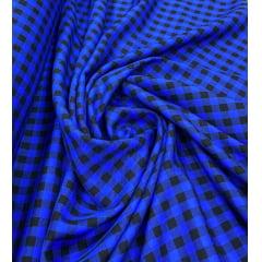 Jacquard Xadrez Preto com Azul