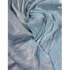 Lurex Plissado Dupla Face Azul Serenity com Prata