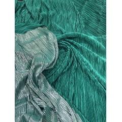 Lurex Plissado Dupla Face Verde Folha e Prata