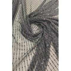 Lurex Plissado Preto com Fio Metalizado Preto