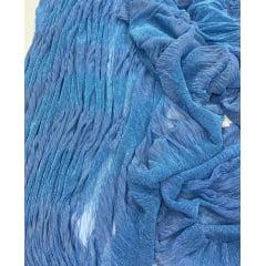 Lurex Plissê Azul Serenity com Azul Celeste