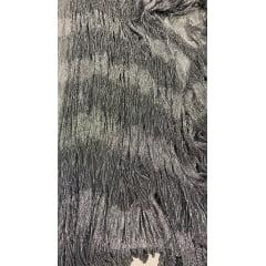 Lurex Plissê Prata com Preto