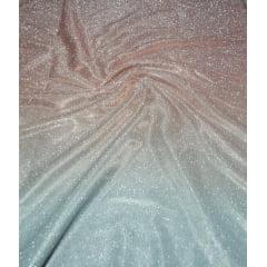 Lurex com Glitter Degradê Rosê Escuro com Prata