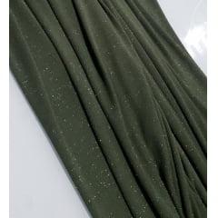 Malha Lurex Verde Militar com Brilho Prata