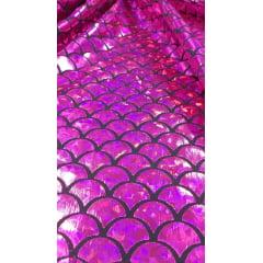 Malha Holográfica Sereia Pink Furtacor
