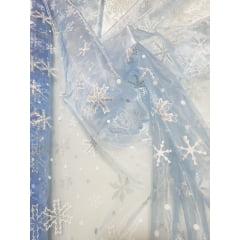 Organza Azul Serenity Frozen com Glitter