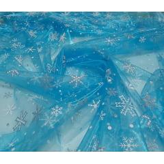Organza Azul Turquesa Frozen com Glitter