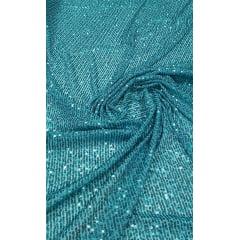 Paetê Bordado Glamour com Elastano Verde Piscina