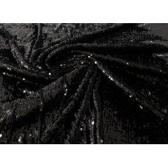 Paetê Bordado Reverso Preto com Brilho  e Preto Fosco
