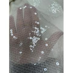 Tule Bordado Branco com Paetê Transparente