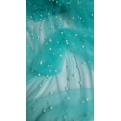 Tule Iluzione Tiffany com Pérolas Brancas