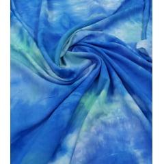 Popeline de Viscose Tie Dye Azul com Verde