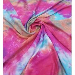 Popeline de Viscose Tie Dye Pink com Azul