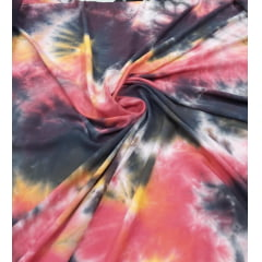 Popeline de Viscose Tie Dye Preto e Vermelho