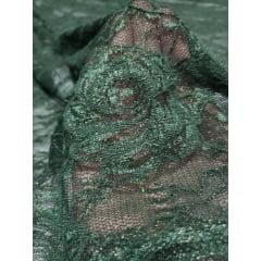 Renda Chantilly com Elastano Verde Floresta e Fio Metálico Dourado