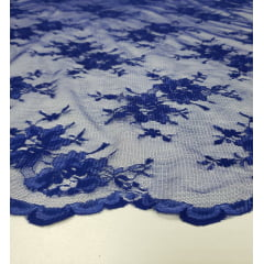 Renda Francêsa Tipo Chantily com Bico Azul Royal