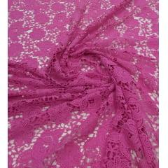 Renda Guipir Pesada Rosa Chiclete