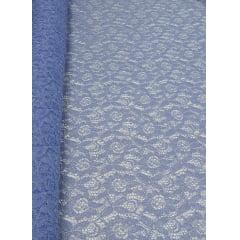 Renda Italiana Azul Serenity com Brilho Prata