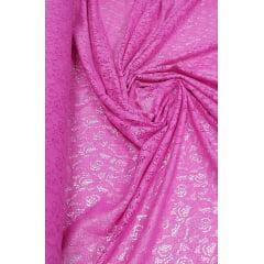 Renda Italiana Pink com Brilho Prata